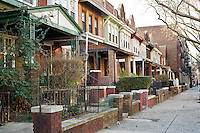 Homes along Union Street in the Crown Heights neighborhood of Brooklyn in New York on Monday, January 9, 2012. (© Frances M. Roberts)