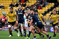 Highlanders&rsquo; Marty Banks in action during the Super Rugby - Hurricanes v Highlanders at Westpac Stadium, Wellington, New Zealand on Friday 8 March 2019. <br /> Photo by Masanori Udagawa. <br /> www.photowellington.photoshelter.com