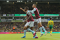 Wesley of Aston Villa in action celebrates scoring the opening goal in front of the  traveling Villa fans during Norwich City vs Aston Villa, Premier League Football at Carrow Road on 5th October 2019