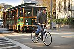 Cyclist on King Street, Charleston, SC.