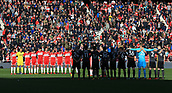 5th November 2017, Riverside Stadium, Middlesbrough, England; EFL Championship football, Middlesbrough versus Sunderland; The teams hold a minutes silence for Rememberance