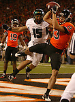 Oregon State receiver Shane Morales,makes a touchdown catch during the Civil War at Reser Stadium in Corvallis, November 29, 2008.