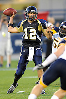26 September 2009:  FIU quarterback Paul McCall (12) throws in the first quarter of the Toledo 41-31 victory over FIU at FIU Stadium in Miami, Florida.