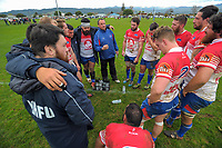 The Horowhenua Kapiti team huddles at halftime during the Mitre 10 Heartland Cup rugby union preseason match between Horowhenua Kapiti and Wanganui at Playford Park in Levin, New Zealand on Saturday, 19 August 2017. Photo: Dave Lintott / lintottphoto.co.nz