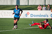 Kansas City, MO - Saturday May 27, 2017: Sydney Leroux, Whitney Church during a regular season National Women's Soccer League (NWSL) match between FC Kansas City and the Washington Spirit at Children's Mercy Victory Field.