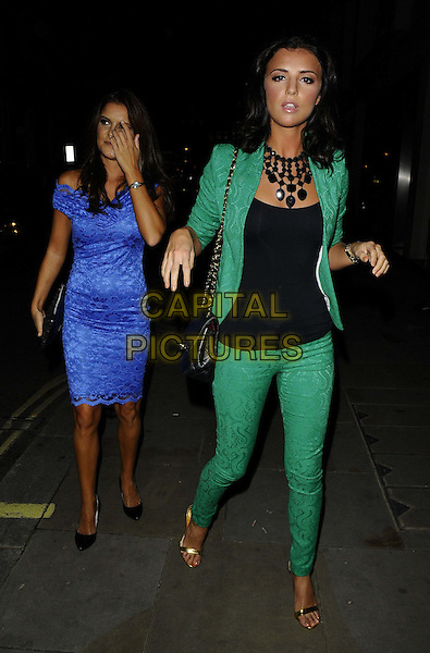 Gemma Oaten &amp; Lucy Mecklenburgh<br /> The Big Smoke new PR company launch party, Sanctum Soho Hotel, London, England.<br /> September 18th, 2013<br /> full length blue dress black top green suit trousers blazer  <br /> CAP/CAN<br /> &copy;Can Nguyen/Capital Pictures