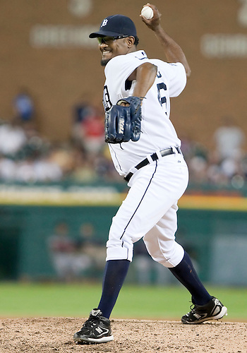 June 15, 2010: Detroit Tigers relief pitcher Jose Valverde (#46) delivers pitch in game action between the Washington Nationals and the Detroit Tigers at Comerica Park in Detroit, Michigan.  The Tigers defeated the Nationals 7-4..