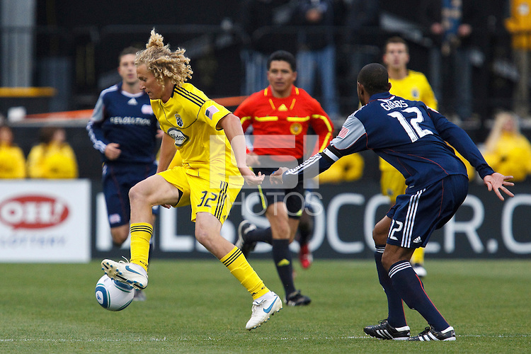 8 MAY 2010:  Steven Lenhart of the Columbus Crew (32) and New England Revolutions' Cory Gibbs (12) during MLS soccer game between New England Revolution vs Columbus Crew at Crew Stadium in Columbus, Ohio on May 8, 2010. The Columbus defeated New England 3-2.