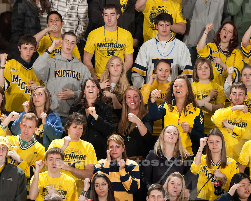 University of Michigan men's ice hockey 4-1 victory over Bowling Green to close CCHA quarterfinal play at Yost Ice Arena in Ann Arbor, MI, on March 12, 2011.