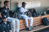 Vanderbilt Commodores designated hitter Ro Coleman (1) in the dugout before Game 12 of the NCAA College World Series against the TCU Horned Frogs in on June 19, 2015 at TD Ameritrade Park in Omaha, Nebraska. The Commodores defeated TCU 7-1. (Andrew Woolley/Four Seam Images)