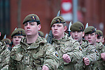 Troops from the Prince of Wales Company 1st Battalion Welsh Guards marching through the streets of Swansea in South Wales this afternoon. The homecoming parade was for soldiers who have returned from a tour of Helmand Province in Afghanistan between March and October last year.