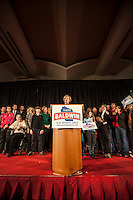 Newly elected U.S. Senator Tammy Baldwin (D-WI) addresses her supporters at her victory party in Madison, Wisconsin November 6, 2012. REUTERS/Sara Stathas (UNITED STATES)
