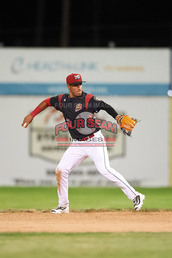 Batavia Muckdogs second baseman Rony Cabrera (26) throws to first during a game against the State College Spikes on June 22, 2016 at Dwyer Stadium in Batavia, New York.  State College defeated Batavia 11-1.  (Mike Janes/Four Seam Images)
