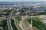 DEUTSCHLAND Hamburg Hafen, zwei Windraeder Enercon E-126 mit je 6 MW  in Altenwerder /<br /> GERMANY Hamburg Altenwerder, 6 MW Enercon E-126 windmill infront of harbour