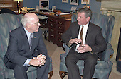 Washington, DC - January 4, 2001 -- U.S. Senator Patrick Leahy (D-Vermont), left, meets with meets with George W. Bush's Attorney General nominee, former U.S. Senator John Ashcroft (R-Missouri).<br /> Credit: Ron Sachs / CNPUnited States Senator Patrick Leahy (Democrat of Vermont), Chairman, US Senate Judiciary Committee,left, meets with meets former US Senator John Ashcroft (Republican of Missouri), US President-elect George W. Bush's nominee for Attorney General, in his office on Capitol Hill in Washington, DC on January 4, 2001.<br /> Credit: Ron Sachs / CNP