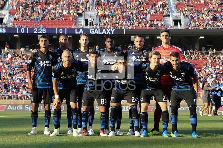Stanford, CA - Saturday June 30, 2018: San Jose Earthquakes Starting Eleven prior to a Major League Soccer (MLS) match between the San Jose Earthquakes and the LA Galaxy at Stanford Stadium.