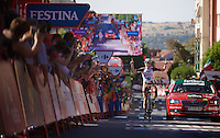 stage winner Alexis Gougeard (FRA/Ag2r-La Mondiale) crossing the finish line<br /> <br /> stage 19: Medina del Campo - Avila (186km)<br /> 2015 Vuelta &agrave; Espana