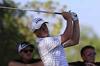 Paul Dunne (IRL) tees off the 9th tee during Thursday's Round 1 of the 2016 Portugal Masters held at the Oceanico Victoria Golf Course, Vilamoura, Algarve, Portugal. 19th October 2016.<br /> Picture: Eoin Clarke | Golffile<br /> <br /> <br /> All photos usage must carry mandatory copyright credit (&copy; Golffile | Eoin Clarke)