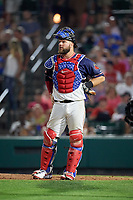 Rochester Red Wings catcher Cameron Rupp (22) during a game against the Pawtucket Red Sox on July 4, 2018 at Frontier Field in Rochester, New York.  Pawtucket defeated Rochester 6-5.  (Mike Janes/Four Seam Images)