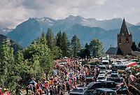 """peloton coming through """"Dutch Corner"""" (#7) on Alpe d'Huez<br /> <br /> Stage 12: Bourg-Saint-Maurice / Les Arcs > Alpe d'Huez (175km)<br /> <br /> 105th Tour de France 2018<br /> ©kramon"""