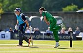 Cricket - ODI Summer Tri-Series - Scotland V Ireland at Grange CC - Edinburgh - Ireland's George Dockrell bowls past Scotland batsman Richie Berrington - Scotland won against Ireland by 5 wickets - Picture by Donald MacLeod - 12.07.11 - 07702 319 738 - www.donald-macleod.com