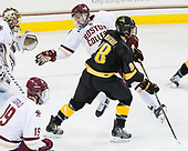 Connor Moore (BC - 7), Branden Makara (CC - 18) - The Boston College Eagles defeated the visiting Colorado College Tigers 4-1 on Friday, October 21, 2016, at Kelley Rink in Conte Forum in Chestnut Hill, Massachusetts.The Boston College Eagles defeated the visiting Colorado College Tiger 4-1 on Friday, October 21, 2016, at Kelley Rink in Conte Forum in Chestnut Hill, Massachusett.