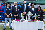 (L to R) Eddit Middleton of KPMG, Rodney Miles, president of Hong Kong Cricket Association, Tim Cutler, CEO of Hong Kong Cricket Association, Sanjay Bhimsaria, Managing Director of the DTC Mobile, and Sangita Bhimsaria of the DTC Mobile present trophies after the final match of the Hong Kong T20 Blitz between Kowloon Cantons and City Kaitak at Tin Kwong Road Recreation Ground, Hong Kong, China. Photo by Chris Wong / Power Sport Images