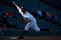 Winston-Salem Dash starting pitcher Dane Dunning (33) delivers a pitch to the plate against the Salem Red Sox at BB&T Ballpark on April 21, 2018 in Winston-Salem, North Carolina.  The Dash walked-off the Red Sox 4-3.  (Brian Westerholt/Four Seam Images)