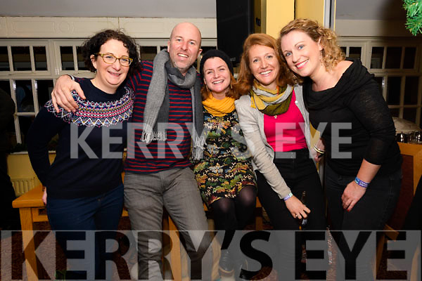 Anne Molloy, Ray Quinn, Regina Carolan, Julie Breen and Carina Houlihan enjoying Other Voices at Benners, Dingle, on Saturday night.