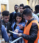 Students arrive during the Gilder Lehman Institute of American History Education Matinee of 'Hamilton' at the Richard Rodgers  Theatre on November 2, 2016 in New York City.