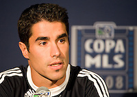 Juan Pablo Angel speaks at the press conference following MLS Cup 2008. Columbus Crew defeated the New York Red Bulls, 3-1, Sunday, November 23, 2008. Photo by John Todd/isiphotos.com