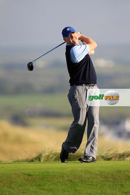 Eoin O'Sulliven (The Island) on the 2nd tee during the South of Ireland Amateur Open Championship First Round at Lahinch Golf Club  27th July 2013 <br /> Picture:  Thos Caffrey / www.golffile.ie