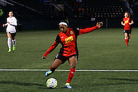 Rochester, NY - Friday April 29, 2016: Western New York Flash forward Taylor Smith (11). The Washington Spirit defeated the Western New York Flash 3-0 during a National Women's Soccer League (NWSL) match at Sahlen's Stadium.