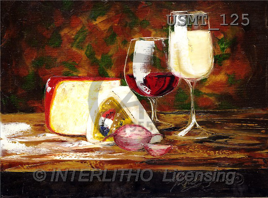 Malenda, STILL LIFES, paintings, Red White & cheese(USMT125,#I#) Stilleben, naturaleza muerta, illustrations, pinturas