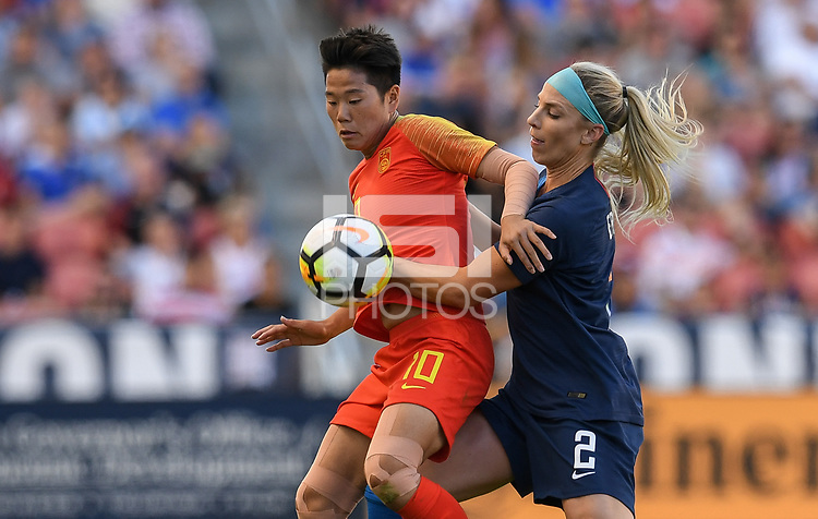 Sandy, Utah - Thursday June 07, 2018: Li Ying, Julie Ertz during an international friendly match between the women's national teams of the United States (USA) and China PR (CHN) at Rio Tinto Stadium.