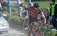 An agitated Greg Van Avermaet (BEL/BMC) on pav&eacute; sector 20 (Haveluy to Wallers) chasing the peloton after being involved in a crash<br /> <br /> 115th Paris-Roubaix 2017 (1.UWT)<br /> One day race: Compi&egrave;gne &gt; Roubaix (257km)