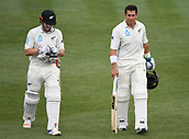 9th December 2017, Seddon Park, Hamilton, New Zealand; International Test Cricket, 2nd Test, Day 1, New Zealand versus West Indies;  Hnery Nicholls and Ross Taylor at the afternoon tea break