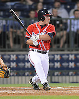 10 April 2008: Infielder Matt Young (6) of the Mississippi Braves, Class AA affiliate of the Atlanta Braves, in a game against the Mobile BayBears at Trustmark Park in Pearl, Miss. Photo by:  Tom Priddy/Four Seam Images