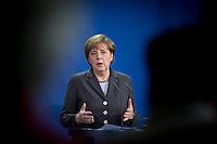 Bundeskanzlerin Angela Merkel (CDU) gibt am Freitag (28.03.14) in Berlin eine Pressekonferenz.<br /> Foto:Axel Schmidt/CommonLens