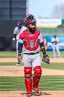 Burlington Bees catcher Alexis Olmeda (25) during a Midwest League game against the Wisconsin Timber Rattlers on April 28, 2019 at Fox Cities Stadium in Appleton, Wisconsin. Wisconsin defeated Burlington 5-4. (Brad Krause/Four Seam Images)