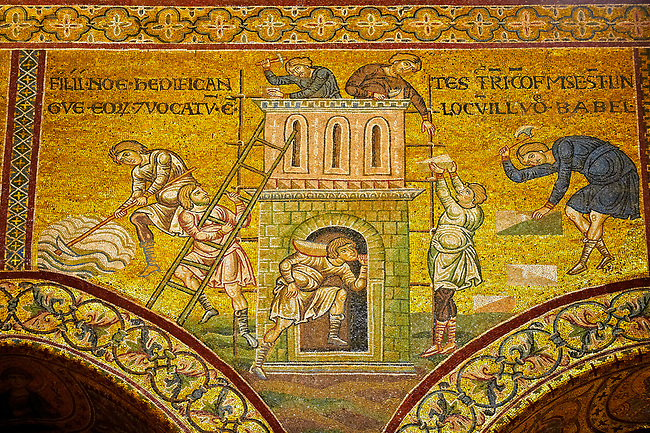 Medieval Byzantine mosaics of Noahs Sons rebuilding their home, Monreale Cathedral, Sicily