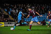 Fleetwood Town's forward Jordy Hiwula (7) shoot and makes it 1 - 1 during the Sky Bet League 1 match between Scunthorpe United and Fleetwood Town at Glanford Park, Scunthorpe, England on 17 October 2017. Photo by Stephen Buckley/PRiME Media Images