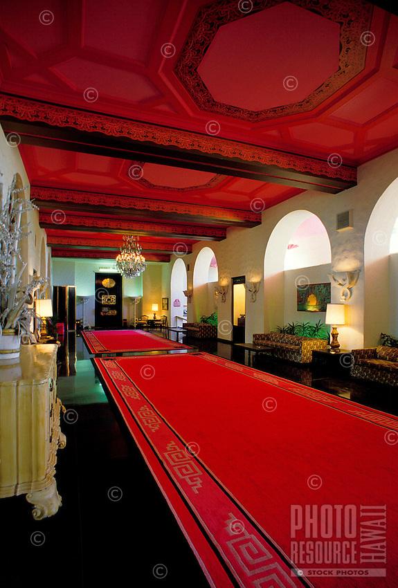 The opulent pink lobby of the Royal Hawaiian Hotel, an historic landmark in Waikiki.