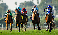 ARCADIA, CA - DECEMBER 30: Midnight Crossing #2 with Brice Blanc (right) wins the Robert Frankel Stakes at Santa Anita Park on December 30, 2017 in Arcadia, California. (Photo by Alex Evers/Eclipse Sportswire/Getty Images)