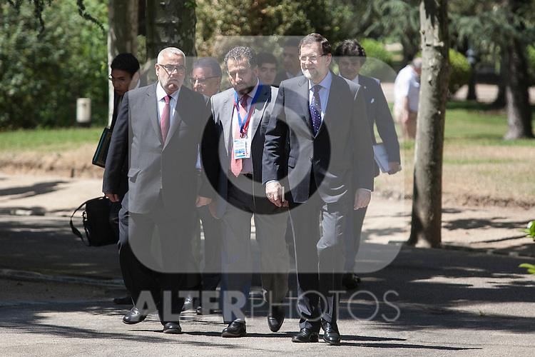 Prime Minister Mariano Rajoy receives Morocco's Prime Minister Abdelilah Benkirane (L) during a welcome ceremony at the Moncloa Palace in Madrid, Spain. June 05, 2015. (ALTERPHOTOS/Victor Blanco)