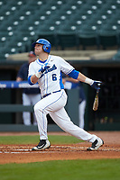 Jack Labosky (6) of the Duke Blue Devils follows through on his swing against the Virginia Cavaliers in Game Seven of the 2017 ACC Baseball Championship at Louisville Slugger Field on May 25, 2017 in Louisville, Kentucky. The Blue Devils defeated the Cavaliers 4-3. (Brian Westerholt/Four Seam Images)