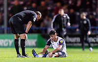 Referee Andy Haines checks on Bolton Wanderers' Eddie Brown <br /> <br /> Photographer Andrew Kearns/CameraSport<br /> <br /> The Carabao Cup First Round - Rochdale v Bolton Wanderers - Tuesday 13th August 2019 - Spotland Stadium - Rochdale<br />  <br /> World Copyright © 2019 CameraSport. All rights reserved. 43 Linden Ave. Countesthorpe. Leicester. England. LE8 5PG - Tel: +44 (0) 116 277 4147 - admin@camerasport.com - www.camerasport.com