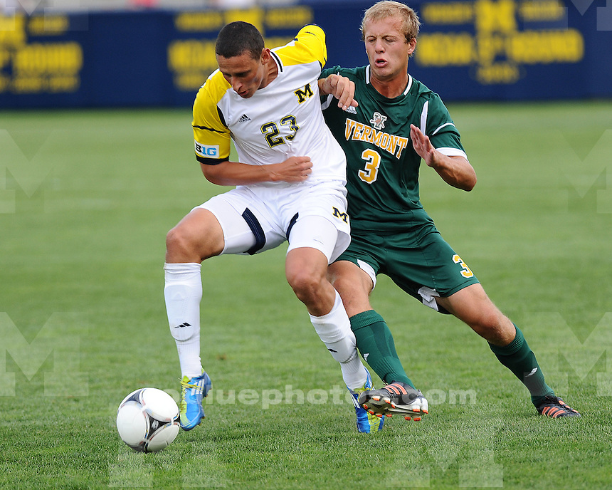 The University of Michigan men's soccer team beat Vermont, 3-0, at the UM Soccer Stadium in Ann Arbor, Mich., on August 31, 2012.