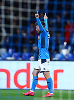 25th February 2020; Stadio San Paolo, Naples, Campania, Italy; UEFA Champions League Football, Napoli versus Barcelona; Dries Mertens of Napoli celebrates after scoring on 30 minutes for 1-0