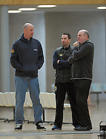 Coaches chat on the sidelines during the National Under-15 Basketball Championship at the ASB Sports Centre, Kilbirnie, Wellington, New Zealand on Thursday, 25 July 2013. Photo: Dave Lintott / lintottphoto.co.nz